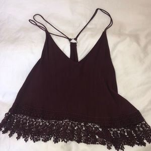 Maroon tank top with lace bottom from Urban